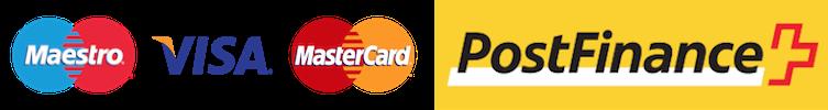 Logos der möglichen Zahlungsdienstleister Maestro, Visa, MAstercard, Postfinance